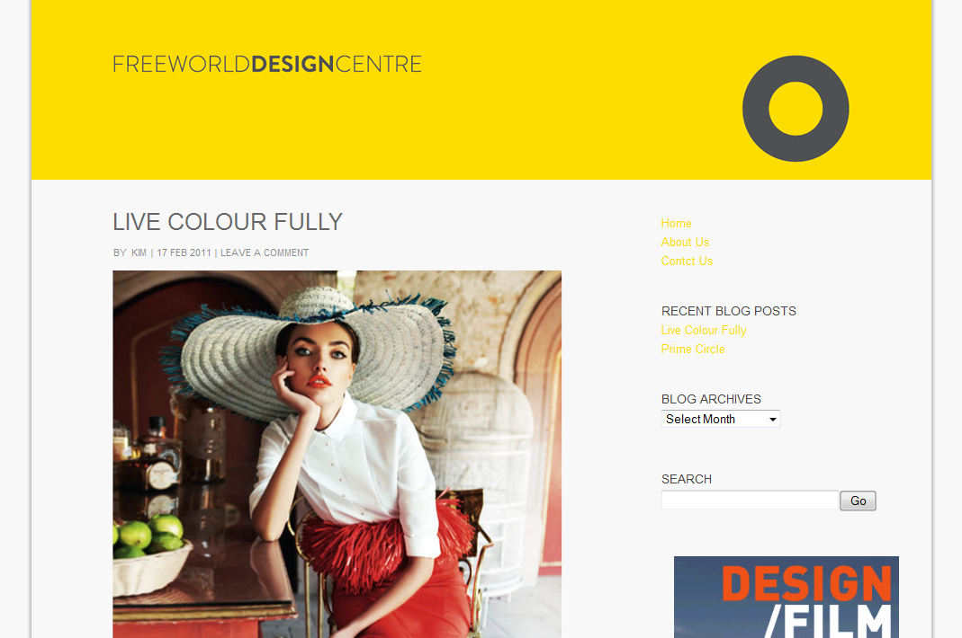 Freeworld Design Centre Blog Screen Capture